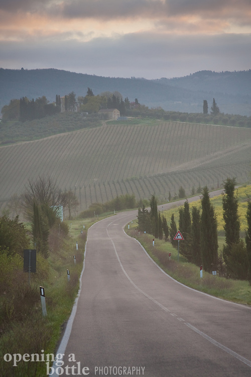A highway winds through Chianti at dawn, north of Siena, Tuscany, Italy. (available in full color and black-and-white upon request).