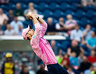 James Harris of Middlesex catches Marchant de Lange of Glamorgan<br /> <br /> Photographer Simon King/Replay Images<br /> <br /> Vitality Blast T20 - Round 4 - Glamorgan v Middlesex - Friday 26th July 2019 - Sophia Gardens - Cardiff<br /> <br /> World Copyright © Replay Images . All rights reserved. info@replayimages.co.uk - http://replayimages.co.uk