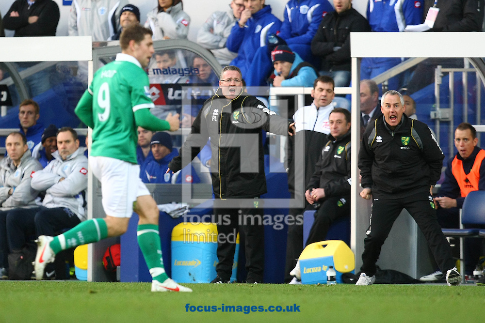 Picture by Paul Chesterton/Focus Images Ltd.  07904 640267.02/01/12.Norwich Manager Paul Lambert and Ian Culverhouse shout out instructions during the Barclays Premier League match at Loftus Road Stadium, London.
