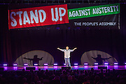 Jeremy Hardy. The Peoples Assembly  presents: Stand Up Against Austerity. Live at the Hammersmith Apollo. London. © Andrew Aitchison / Peoples Assembly