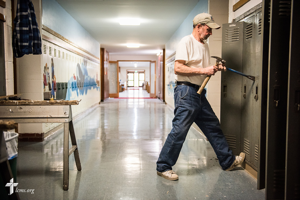 Ascension Lutheran Church member Ron Webster  Webster renovates the church building in preparation for the upcoming Ascension Lutheran School on Wednesday, April 5, 2017, in Gary, Ind. LCMS Communications/Erik M. Lunsford