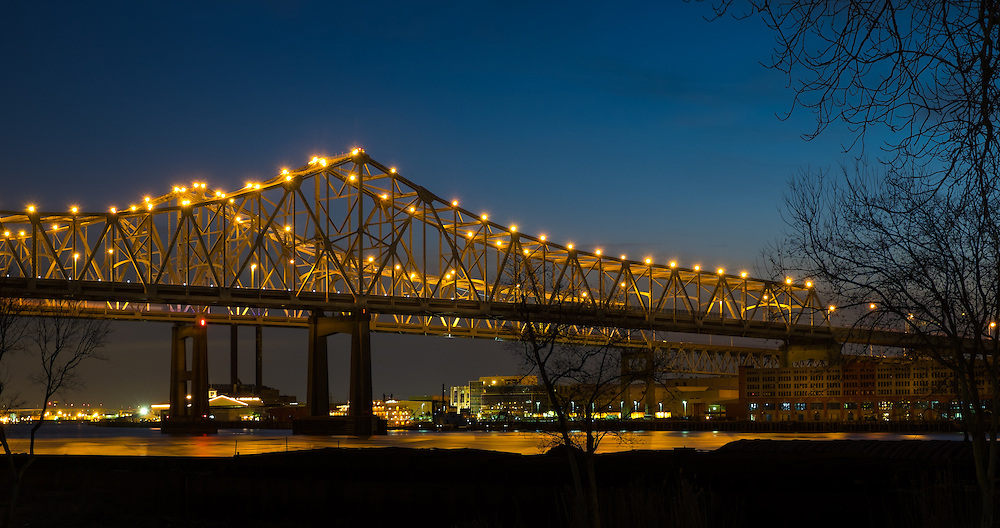 NEW ORLEANS - CIRCA FEBRUARY 2014: Night view of the Crescent City Connection over the Mississippi River