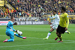 15.03.2014, Signal Iduna Park, Dortmund, GER, 1. FBL, Borussia Dortmund vs Borussia Moenchengladbach, 25. Runde, im Bild Torwart Marc-Andre Ter Stegen (Borussia Moenchengladbach #1) mit einer Parade gegen Mats Hummels (Borussia Dortmund #15), Aktion, Action // during the German Bundesliga 25th round match between Borussia Dortmund and Borussia Moenchengladbach at the Signal Iduna Park in Dortmund, Germany on 2014/03/15. EXPA Pictures © 2014, PhotoCredit: EXPA/ Eibner-Pressefoto/ Schueler<br /> <br /> *****ATTENTION - OUT of GER*****
