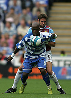 Photo: Lee Earle.<br /> Reading v West Ham United. The FA Barclays Premiership. 01/09/2007.Reading's Leroy Lita (f) holds off Matthew Upson.