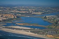 Aerial over the Batiquitos Lagoon, Carlsbad,+Northern San Diego Region Coastline San Diego County, CALIFORNIA