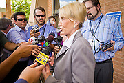 Oct. 4, 2010 - PHOENIX, AZ: Arizona Governor JAN BREWER talks to reporters during an unexpected press conference at Maricopa Medical Center in Phoenix, AZ, Monday. She was at the hospital to declare Arizona Child Health Day. Gov. Brewer is running for reelection and appears headed to an easy win. Since signing Arizona's tough immigration bill, SB 1070, and cutting budgets for some of Arizona's social services, like health care for children, her popularity has soared. Her reelection campaign has been dogged by protests from education, health care and immigration advocates but she doesn't engage them and continues to be popular in pre-election polling.      Photo by Jack Kurtz