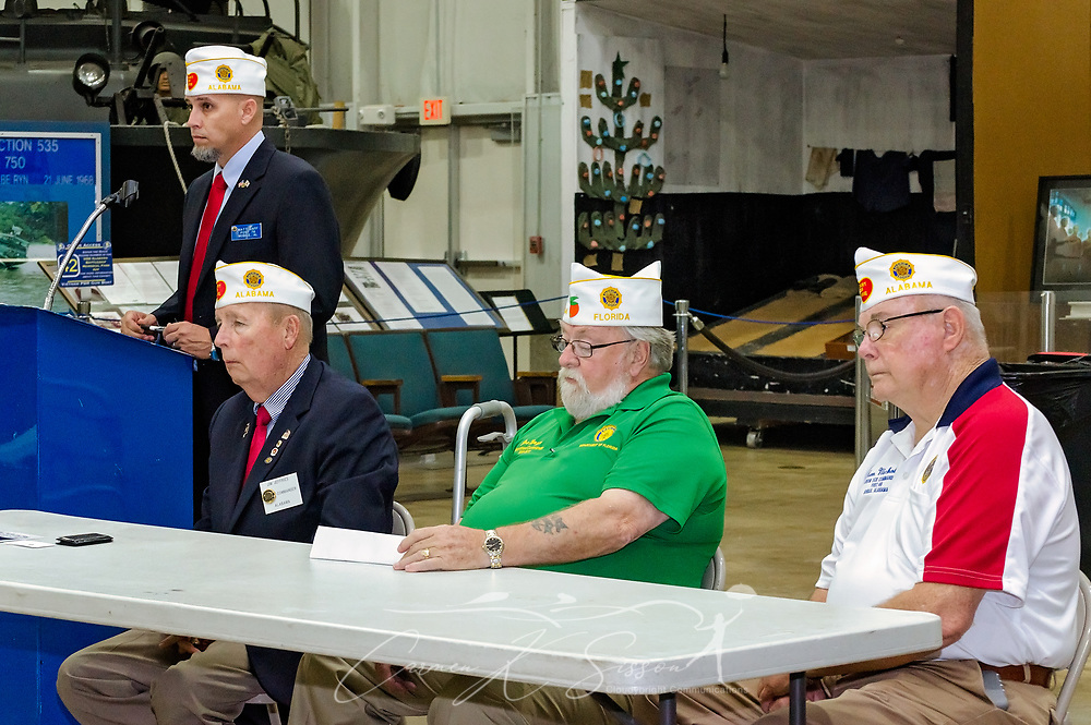 Department of Alabama District 33 Commander Matt Gaff, Department of Alabama Commander Jim Jeffries, Department of Florida State Commander Joe McGee, and Department of Alabama senior vice commander Ken Nichols listen as veterans share stories of their VA experiences during the Mobile SWS Town Hall at USS Alabama Battleship Memorial Park in Mobile, Ala., on Friday, April 3, 2017. (Photo by Carmen K. Sisson/Cloudybright)