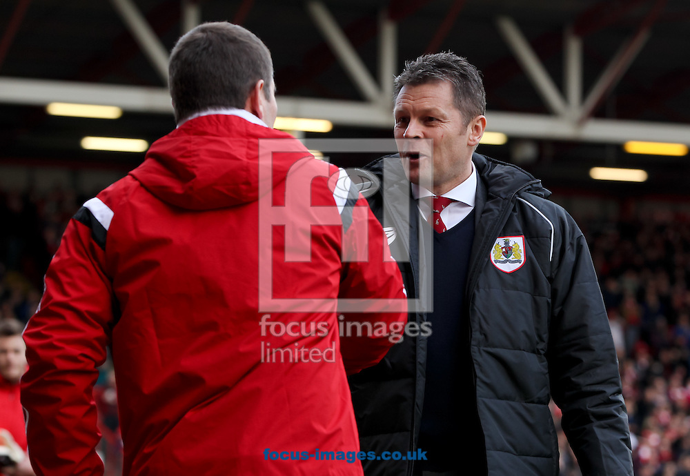 Bristol City manager Steve Cotterill (right) greets Sheffield United manager Nigel Clough (left) before the Sky Bet League 1 match at Ashton Gate, Bristol<br /> Picture by Tom Smith/Focus Images Ltd 07545141164<br /> 14/02/2015