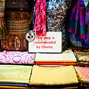 "A silk scarf store in the Spice Bazaar (also known as the Egyption Bazaar) in Istanbul, Turkey, displays a sign saying ""This shop is recommended by Obama"" in an effort to lure tourists."