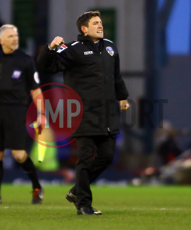 Oldham Athletic Manager, Lee Johnson celebrates the victory at full-time - Photo mandatory by-line: Joe Dent/JMP - Tel: Mobile: 07966 386802 25/01/2014 - SPORT - FOOTBALL - Boundary Park - Oldham - Oldham Athletic v Peterborough United - Sky Bet League One