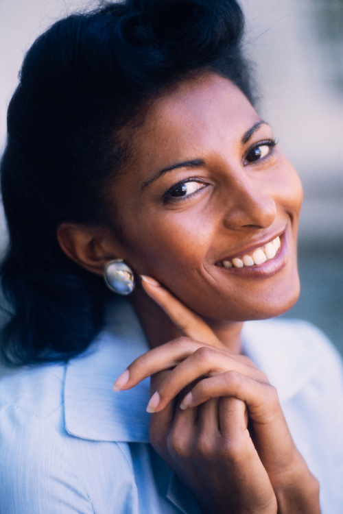 """Actress Pam Grier on the set of """"Greased Lightning"""" - the story of the first African American NASCAR driver - Wendell Scott."""