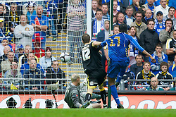 LONDON, ENGLAND - Saturday, May 17, 2008: Cardiff City's goalkeeper Peter Enckelman is beaten by Portsmouth's Nwankwo Kanu for the opening goal during the FA Cup Final at Wembley Stadium. (Photo by David Rawcliffe/Propaganda)
