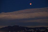 Super Blood Moon Over Mount Diablo from Tilden Regional Park, Berkeley, California