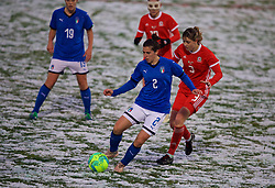 CESENA, ITALY - Tuesday, January 22, 2019: Italy's Valentina Bergamaschi and Wales' Gemma Evans during the International Friendly between Italy and Wales at the Stadio Dino Manuzzi. (Pic by David Rawcliffe/Propaganda)