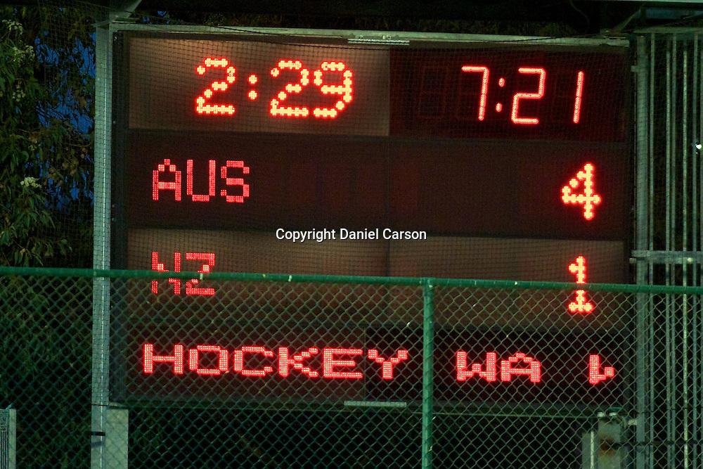 Score. Hockeyroos v New Zealand International Hockey match. Curtin Hockey Stadium, Perth. Wednesday 17 February 2010. Photo: Daniel Carson/PHOTOSPORT