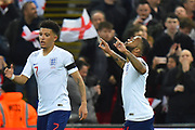 Goal - Raheem Sterling of England celebrates scoring his hat trick goal to give a 4-0 lead to the home team during the UEFA European 2020 Qualifier match between England and Czech Republic at Wembley Stadium, London, England on 22 March 2019.