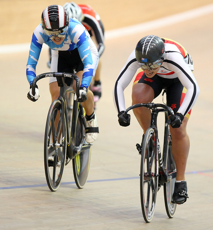 Southland's Natasha Hansen, right,  finishes first in the Elite Women's Keirin final at the 2013 National Track Cycling Championships, Stadium Southland Velodrome, Invercargill, New Zealand, Saturday, February 02, 2013. Credit:SNPA / Dianne Manson.