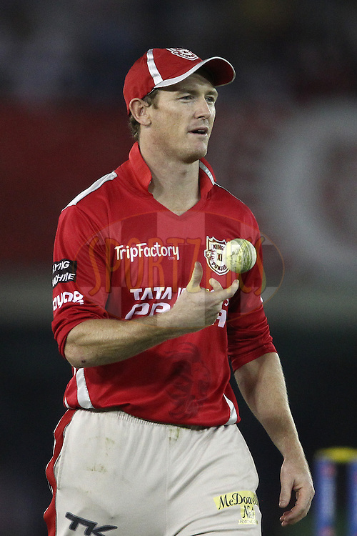 George Bailey captain of the Kings XI Punjab during match 48 of the Pepsi Indian Premier League Season 2014 between the Kings XI Punjab and the Mumbai Indians held at the Punjab Cricket Association Stadium, Mohali, India on the 21st May  2014<br /> <br /> Photo by Shaun Roy / IPL / SPORTZPICS<br /> <br /> <br /> <br /> Image use subject to terms and conditions which can be found here:  http://sportzpics.photoshelter.com/gallery/Pepsi-IPL-Image-terms-and-conditions/G00004VW1IVJ.gB0/C0000TScjhBM6ikg
