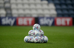 """A pyramid of Footballs stacked up before the Sky Bet Championship match at Deepdale, Preston. PRESS ASSOCIATION Photo. Picture date: Tuesday September 12, 2017. See PA story SOCCER Preston. Photo credit should read: Richard Sellers/PA Wire. RESTRICTIONS: EDITORIAL USE ONLY No use with unauthorised audio, video, data, fixture lists, club/league logos or """"live"""" services. Online in-match use limited to 75 images, no video emulation. No use in betting, games or single club/league/player publications."""
