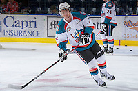 KELOWNA, CANADA - JANUARY 2: Jesse Lees #2 of the Kelowna Rockets warms up on the ice against the  Victoria Royals at the Kelowna Rockets on January 2, 2013 at Prospera Place in Kelowna, British Columbia, Canada (Photo by Marissa Baecker/Shoot the Breeze) *** Local Caption ***