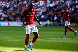 Benik Afobe of Bristol City celebrates scoring a goal to make it 3-1 - Mandatory by-line: Robbie Stephenson/JMP - 24/08/2019 - FOOTBALL - KCOM Stadium - Hull, England - Hull City v Bristol City - Sky Bet Championship