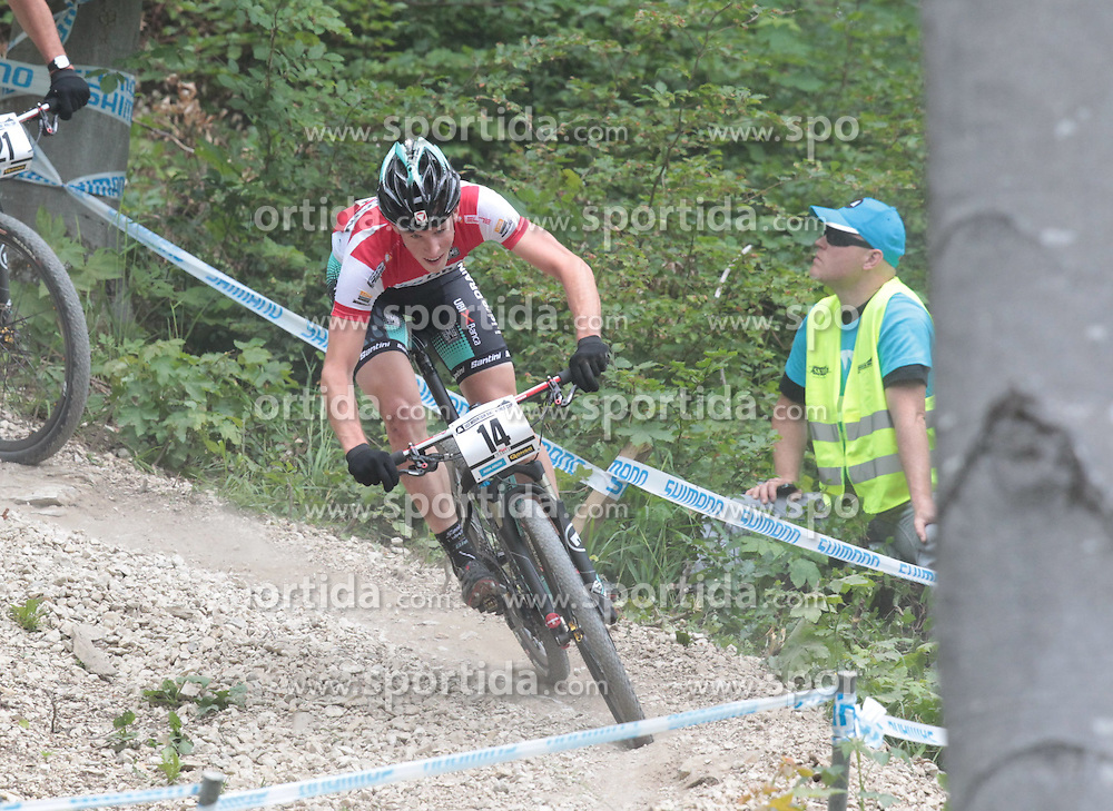 01.06.2014, Bullentaele, Albstadt, GER, UCI Mountain Bike World Cup, Cross Country Herren, im Bild Alexander Gehbauer Oesterreich // during Mens Cross Country Race of UCI Mountainbike Worldcup at the Bullentaele in Albstadt, Germany on 2014/06/01. EXPA Pictures © 2014, PhotoCredit: EXPA/ Eibner-Pressefoto/ Langer<br /> <br /> *****ATTENTION - OUT of GER*****