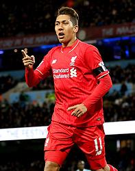 Roberto Firmino of Liverpool celebrates after scoring his goal to make it 0-3 - Mandatory byline: Matt McNulty/JMP - 07966 386802 - 21/11/2015 - FOOTBALL - Etihad Stadium - Manchester, England - Manchester City v Liverpool - Barclays Premier League