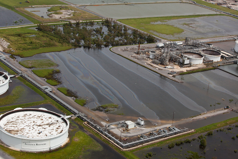 Belle Chasse,Louisiana- August 31 Oil sheen in flood waters at the Alliance Refinery following Hurricane Isaac.