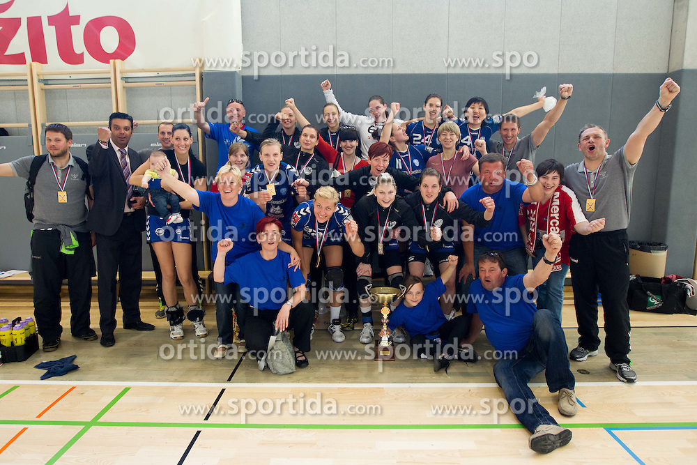 Fans and team of Krim celebrate after the last game of 1st A Slovenian Women Handball League season 2011/12 between ZRK Krka and RK Krim Mercator, on May 8, 2012 in Stopice at Novo mesto, Slovenia. RK Krim Mercator became Slovenian National Champion, GEN-I Zagorje placed second and ZRK Krka placed third. (Photo by Vid Ponikvar / Sportida.com)