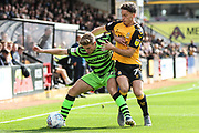 Forest Green Rovers Kyle Taylor(28),on loan from Bournemouth under pressure from Cambridge United's Luke Hannant(7) during the EFL Sky Bet League 2 match between Cambridge United and Forest Green Rovers at the Cambs Glass Stadium, Cambridge, England on 7 September 2019.