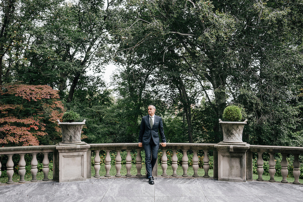 French Ambassador Gérard Araud outside in the back patio of his residence in the Kalorama neighborhood of Washington D.C. France acquired the residence in 1936.