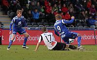 Fotball , 15. april 2012, Tippeligaen Eliteserien , Sogndal - Haugesund<br /> <br /> Foto: Christian Blom , Digitalsport (L) Håvard Storbæk, (R) Alexander Søderlund Haugesund. (M) Gustav Valsvik Sogndal