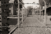 Selective focus barbed wire.Black and white.Auschwitz,Poland.