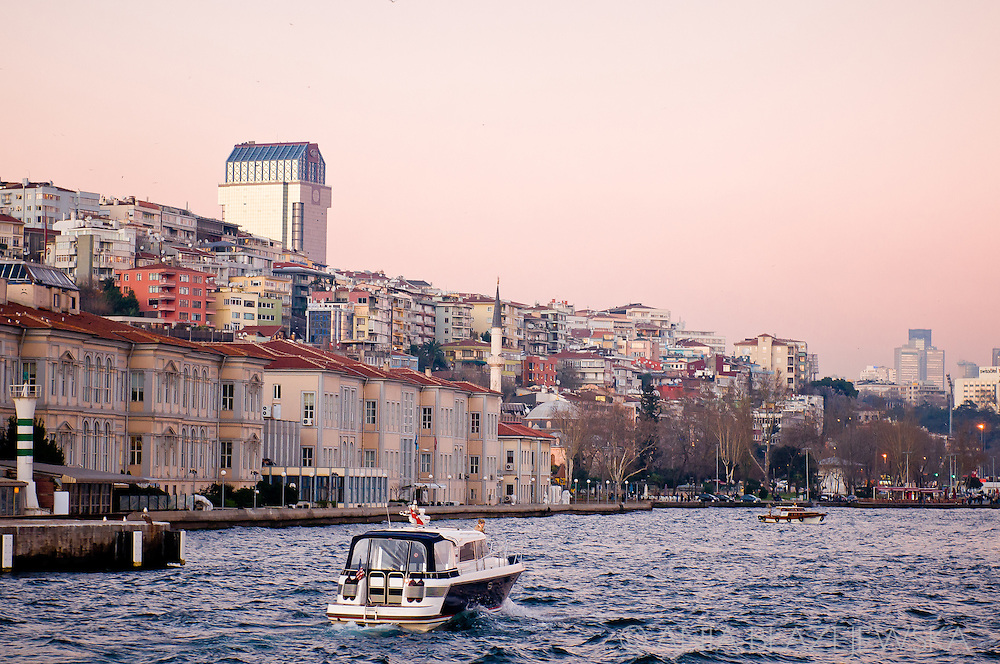 Turkey, Istanbul. A small motorboat on the water of Bosphorus. Winter in Istanbul.