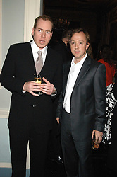 Left to right, Writer BRET EASTON ELLIS and GEORDIE GREIG editor of Tatler at a party hosted by Tatler magazine to celebrate the publication of Lunar park by Bret Easton Ellis held at Home House, 20 Portman Square, London W1 on 5th October 2005.<br />