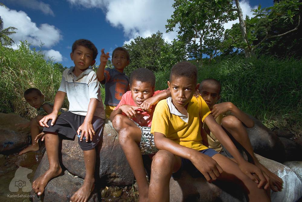 Boys from the village of Naqara, Kadavu island, Fiji.