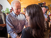 20 AUGUST 2019 - PROLE, IOWA: Former Vice President JOE BIDEN talks to a supporter after his campaign appearance in Prole. Vice President Biden is campaigning in Iowa to be the Democratic nominee for the US Presidency. He spoke to about 200 people in Prole Tuesday afternoon. Iowa traditionally hosts the first event of the presidential election cycle. The Iowa caucuses are Feb. 3, 2020.          PHOTO BY JACK KURTZ