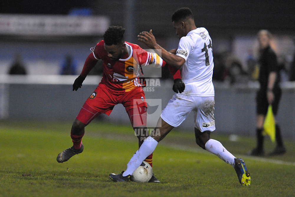 TELFORD COPYRIGHT MIKE SHERIDAN Riccardo Calder of Telford battles for the ball with Jennison Myrie-Williams during the Vanarama Conference North fixture between AFC Telford United and Gloucester City at Jubilee Stadium, Evesham on Saturday, December 28, 2019.<br /> <br /> Picture credit: Mike Sheridan/Ultrapress<br /> <br /> MS201920-037