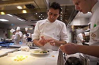 Yannick Alleno in the kitchens of le Meurice - photograph by Owen Franken for the NY Times..February 9, 2012....
