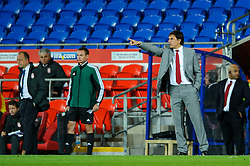 Wales Manager Chris Coleman points at his players during the second half of the match - Photo mandatory by-line: Rogan Thomson/JMP - Tel: Mobile: 07966 386802 10/09/2013 - SPORT - FOOTBALL - Cardiff City Stadium - Cardiff -  Wales V Serbia- World Cup Qualifier.