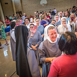 Lisa Johnston | lisajohnston@archstl.org | Twitter: @aeternusphoto<br /> <br /> Gianna Emanuela, daughter of St. Gianna Beretta Molla, visited St. Louis to spread the message of her saint mother's legacy. The visit was sponsored by the Pro-Life Ministray at St. Gianna Parish in Wentzville. Gianna completed her visit to St. Louis with Mass at the Cathedral followed by a talk and reception in Boland Hall. She greeted Sister Mary John Rainey, FSGM who stood with her fellow Sisters of St. Francis of the Martyr St. George in Alton.  Sister Mary John expressed how she found her vocation through working in the pro-life movement saying that &quot;St. Gianna hellped me find the Lord.&quot;