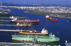 Aerial view of tankers docked at the Port of Houston