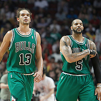 17 March 2012: Chicago Bulls center Joakim Noah (13) is seen next to Chicago Bulls power forward Carlos Boozer (5) during the Chicago Bulls 89-80 victory over the Philadelphia Sixers at the United Center, Chicago, Illinois, USA.