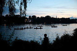 GERMANY HAMBURG 23MAY14 - People in canoes flock to see the fireworks over the skyline of Hamburg during the Cherry Blossom festival, seen from the outer Alster river basin.<br /> <br /> <br /> <br /> jre/Photo by Jiri Rezac<br /> <br /> <br /> <br /> © Jiri Rezac 2014