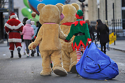 © Licensed to London News Pictures. 19/11/2017. London, UK.  Elves and teddy bears join popular toy characters preparing to take part in Hamleys' annual Toy Parade in Regent Street along with marching bands and toy vehicles.  Photo credit: Stephen Chung/LNP