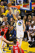 Golden State Warriors center JaVale McGee (1) scores a basket against the Houston Rockets during Game 3 of the Western Conference Finals at Oracle Arena in Oakland, Calif., on May 20, 2018. (Stan Olszewski/Special to S.F. Examiner)