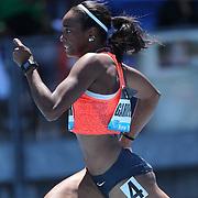 English Gardner, USA, winning the Women's 100m event at the Diamond League Adidas Grand Prix at Icahn Stadium, Randall's Island, Manhattan, New York, USA. 13th June 2015. Photo Tim Clayton