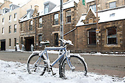 Bike snowbound in Edinburgh outside the Hotel Du Vin 2010