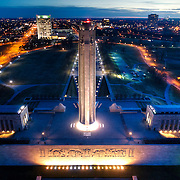 Dusk aerial view of Kansas City's Liberty Memorial and World War One Museum