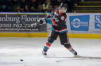 KELOWNA, CANADA, NOVEMBER 23: Tyrell Goulbourne #12 of the Kelowna Rockets takes a shot against the Prince George Cougars visit the Kelowna Rockets  on November 23, 2011 at Prospera Place in Kelowna, British Columbia, Canada (Photo by Marissa Baecker/Shoot the Breeze) *** Local Caption *** Tyrell Goulbourne;